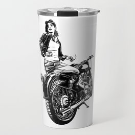 Woman Motorcycle Rider Travel Mug