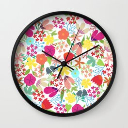 Wildflower Pattern Wall Clock