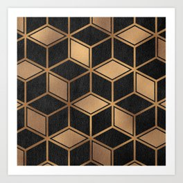 Charcoal and Gold - Geometric Textured Cube Design II Art Print
