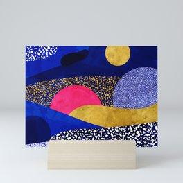 Terrazzo galaxy blue night yellow gold pink Mini Art Print
