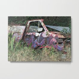 Old Truck Decorated with Clouds and Waves Metal Print