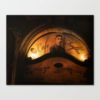 kafka Canvas Prints featuring Cafe Kafka by Bella Blue Photography