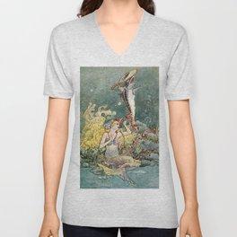 """Mermaid and Harp"" by Charles Folkard Unisex V-Neck"