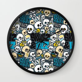 Skullz & Lulz Pattern Wall Clock