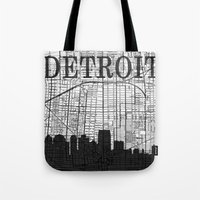 detroit Tote Bags featuring DETROIT by Rustic Refresh