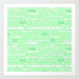 lyrics green Art Print