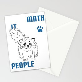 """Creative tee design with text """"I Love Math It Makes People Cry Shirt Cat Funny"""" Stationery Cards"""