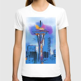 The Space Needle In Soft Abstract T-shirt
