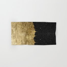 Faux Gold and Black Starry Night Brushstrokes Hand & Bath Towel