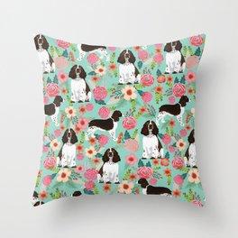 English Springer Spaniel florals cute dog art pet portraits by pet friendly dog breeds Throw Pillow