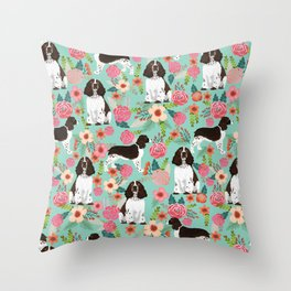 English Springer Spaniel florals cute dog art pet portraits by pet friendly dog breeds Throw Pillow
