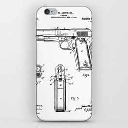Colt Pistol Patent - Browning 1911 Colt Art - Black And White iPhone Skin