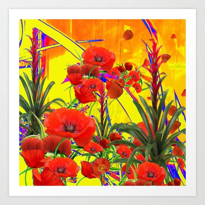MODERN TROPICAL FLOWERS GARDEN DESIGN IN YELLOW-ORANGE COLORS Art Print