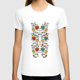 Vintage Ethno Flowers in red, blue, yellow on black T-shirt