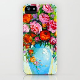 Bouquet of roses in a vase iPhone Case
