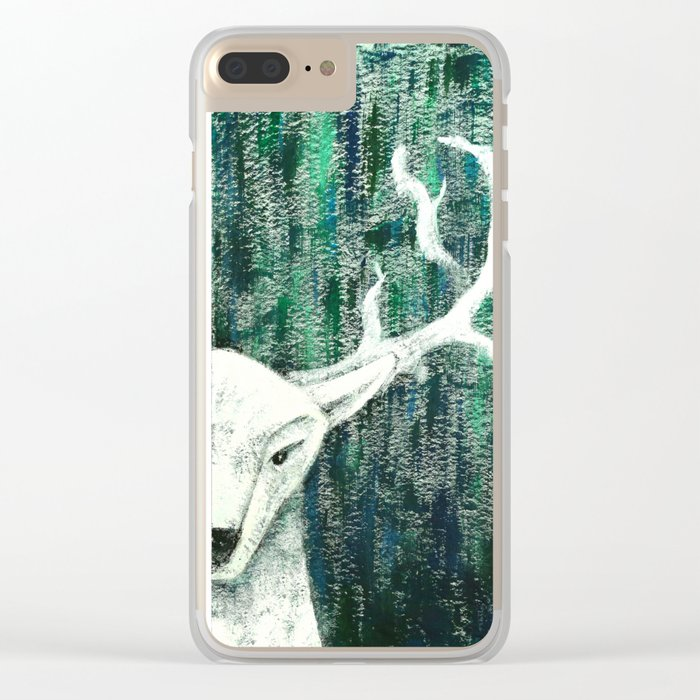 Christmas Stag handpainted Clear iPhone Case