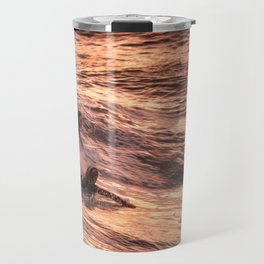 Girls catching a wave together Travel Mug
