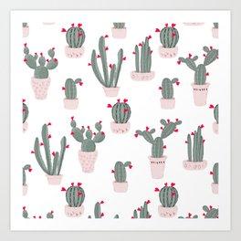 Love in the Desert Cacti Pattern Art Print