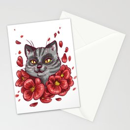Flowers cat Stationery Cards