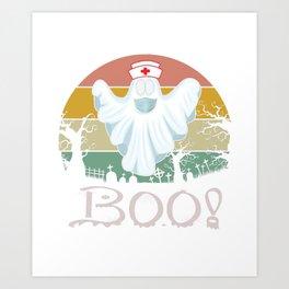 BOO Wearing A Mask Funny Health Worker Nurse Halloween 2020 Art Print