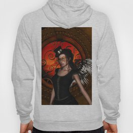 Wonderful steampunk lady with wings and hat Hoody