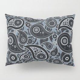 Slate Gray Paisley Pattern Pillow Sham