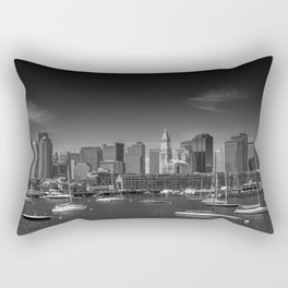 BOSTON Skyline North End & Financial District | Monochrome Rectangular Pillow