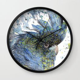 """Watercolor Painting of Picture """"Black Cockatoo"""" Wall Clock"""