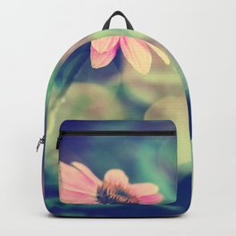 Romance. Golden dust pink daisy with bokeh. Backpack
