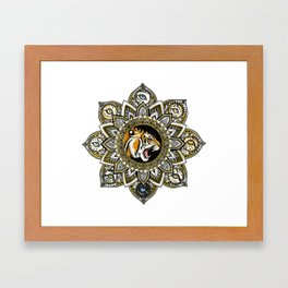 Black and Gold Roaring Tiger Mandala With 8 Cat Eyes Framed Art Print