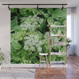 AWESOME DELICATE GREEN LACE FLOWERS Wall Mural
