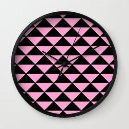 Graphic Geometric Pattern Minimal 2 Tone Infinity Triangles (Pastel Pink & Black) Wall Clock