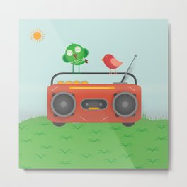 Tape Recorder With Birds Metal Print