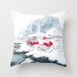 Amazing Hamnoy Lofoten Islands Norway Throw Pillow