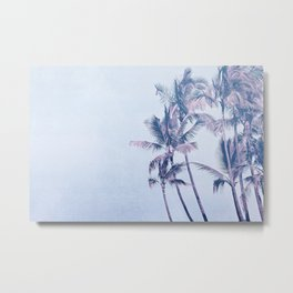Aqua Pink Palm Trees Tropical Morning Metal Print