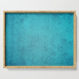 blue wall vintage  background,  stone texture, retro style Serving Tray