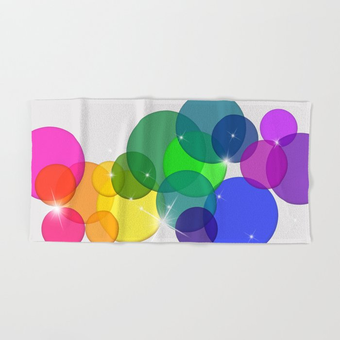 Translucent Rainbow Colored Circles with Sparkles - Multi Colored Hand & Bath Towel