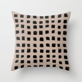 Polka Strokes - Black on Nude Throw Pillow