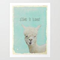 lama Art Prints featuring Lama by Monika Strigel