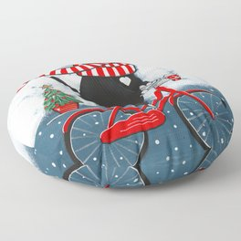 Winter Tuxedo Cat Bicycle Ride Floor Pillow