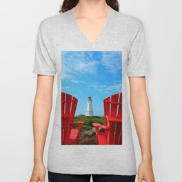 Lighthouse and chairs in Red White and Blue Unisex V-Neck