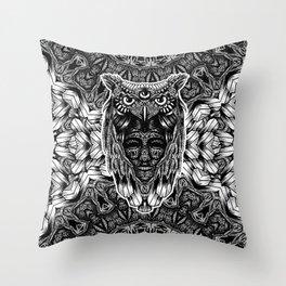 Owl and face Throw Pillow