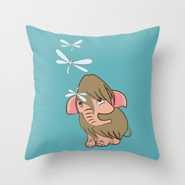 Baby Mammoth with a dragonfly #1 Throw Pillow