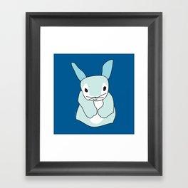 Blue Bunny Rabbit Framed Art Print
