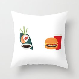 Sushi vs Fastfood Throw Pillow