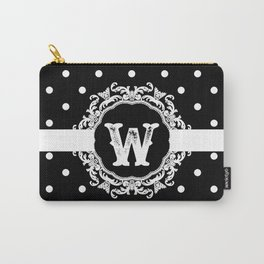 Black Monogram: Letter W Carry-All Pouch