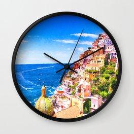 Colorful Positano Italy Wall Clock