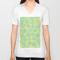 floral pattern V-neck T-shirts featuring floral pattern by Nastya Bo