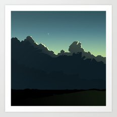 Cloudscape Blue and Green Art Print