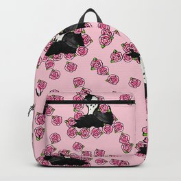 Floral Tuxedo Cat person Backpack
